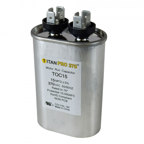 15 MFD/370V OVAL MOTOR RUN CAPACITOR