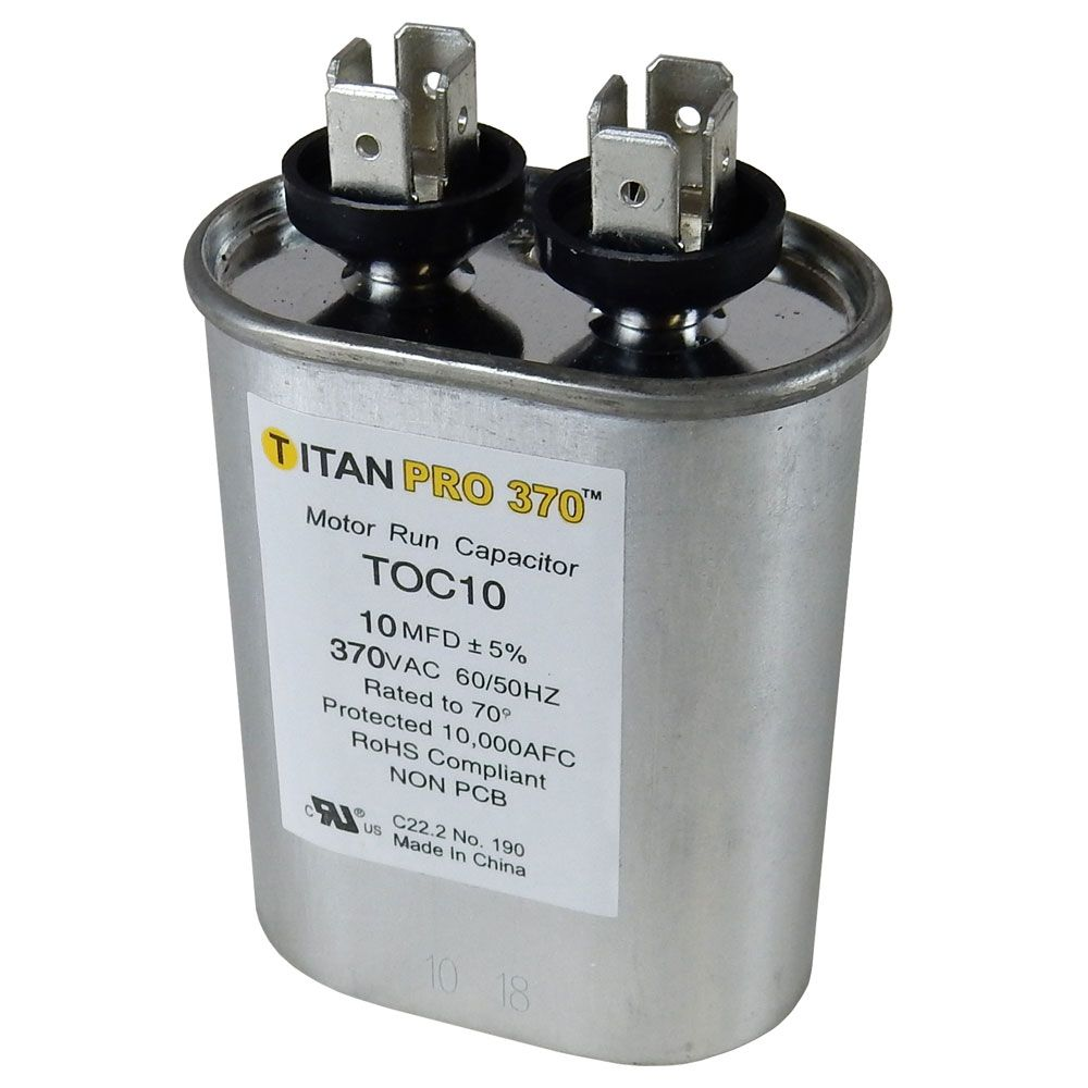 10 MFD/370V OVAL MOTOR RUN CAPACITOR