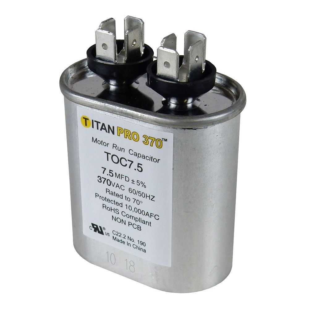 7.5MFD/370V OVAL MOTOR RUN CAPACITOR