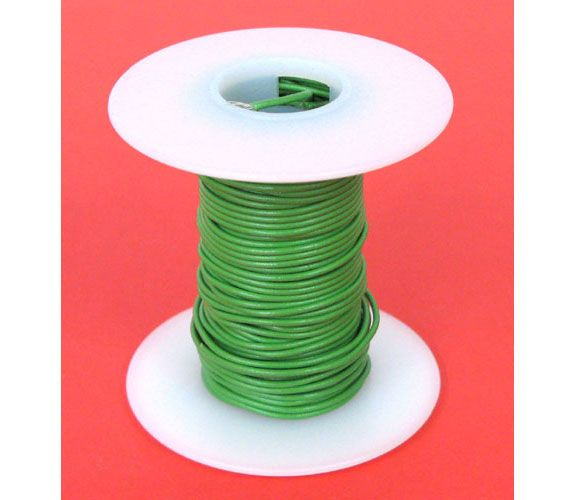 24 GA GREEN HOOK-UP WIRE, STRANDED 25'