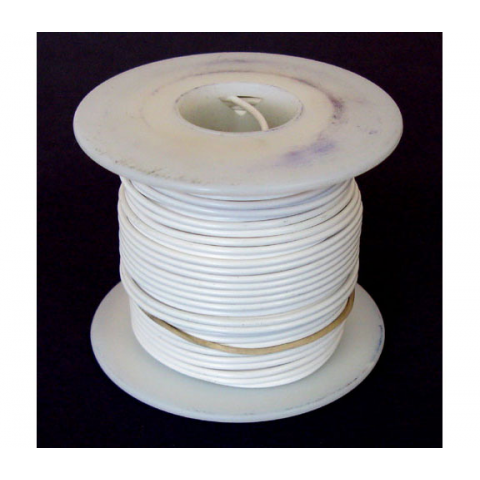 18 GA. WHITE HOOK-UP WIRE, STRANDED 100'