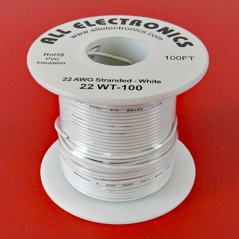 22 GA. WHITE HOOK-UP WIRE, STRANDED 100'