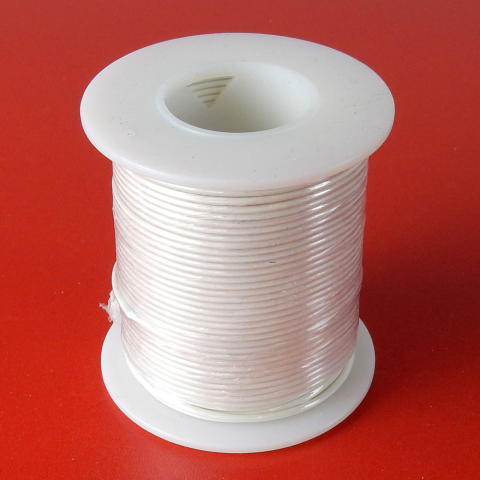 22 GA WHITE HOOK-UP WIRE, SOLID 100'