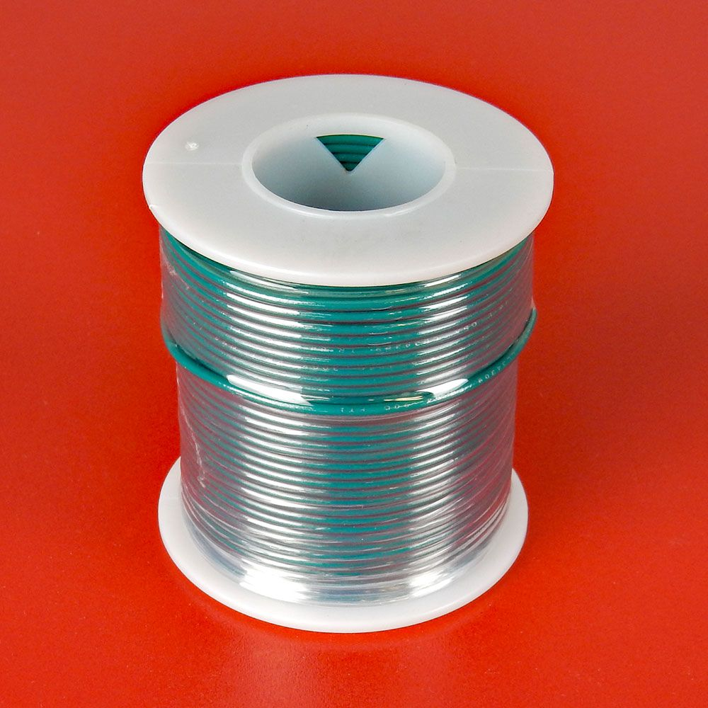 22 GA GREEN HOOK-UP WIRE, SOLID 100'