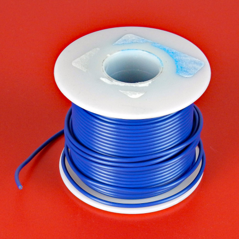 18 GA. BLUE HOOK-UP WIRE, STRANDED 100'