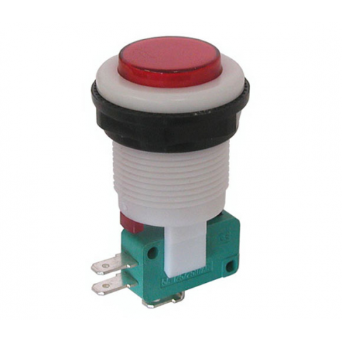 SPDT MOMENTARY PUSHBUTTON, RED BUTTON