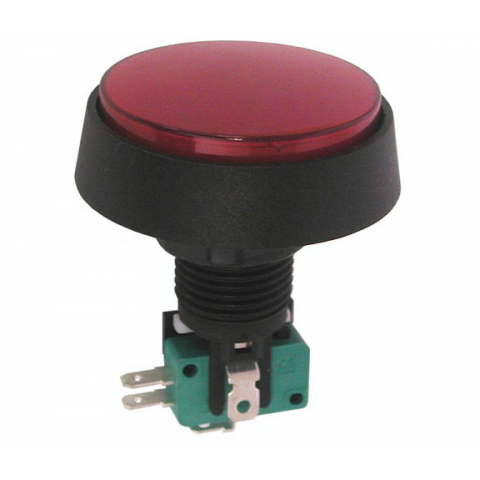 "12V LIGHTED PUSHBUTTON, 2"" RED LENS"