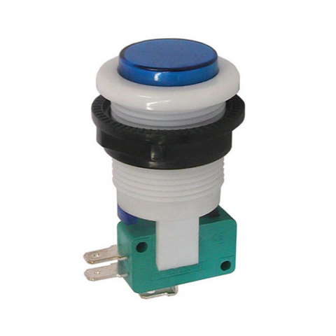 SPDT MOMENTARY PUSHBUTTON, BLUE BUTTON