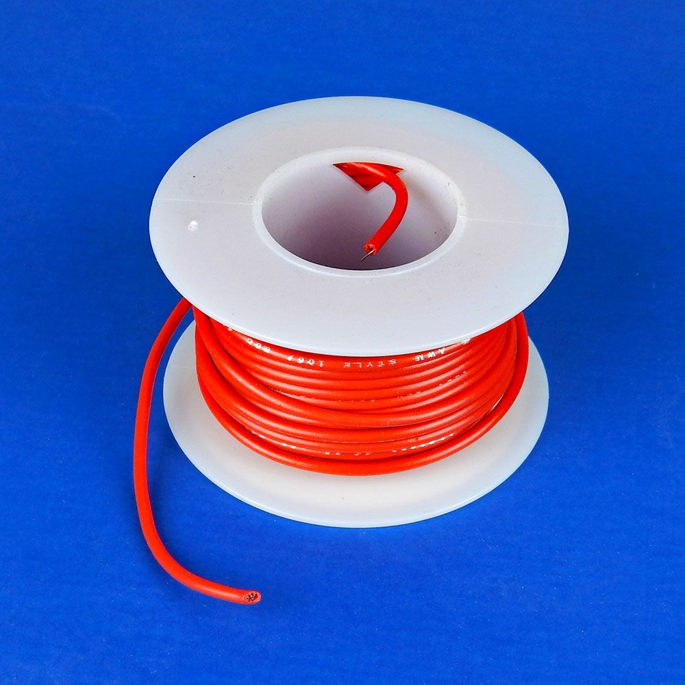 20 GA RED HOOK UP WIRE, SOLID 25'