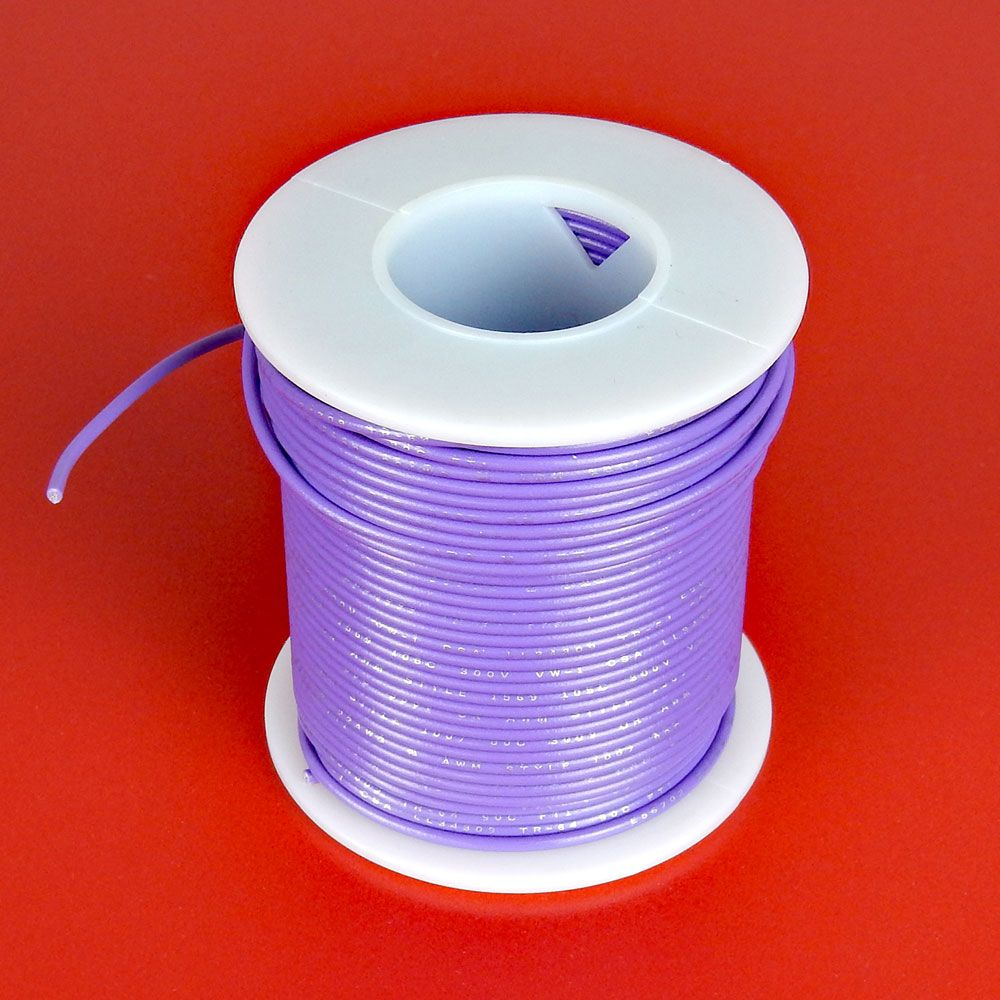 22 GA PURPLE HOOK-UP WIRE, SOLID 100'