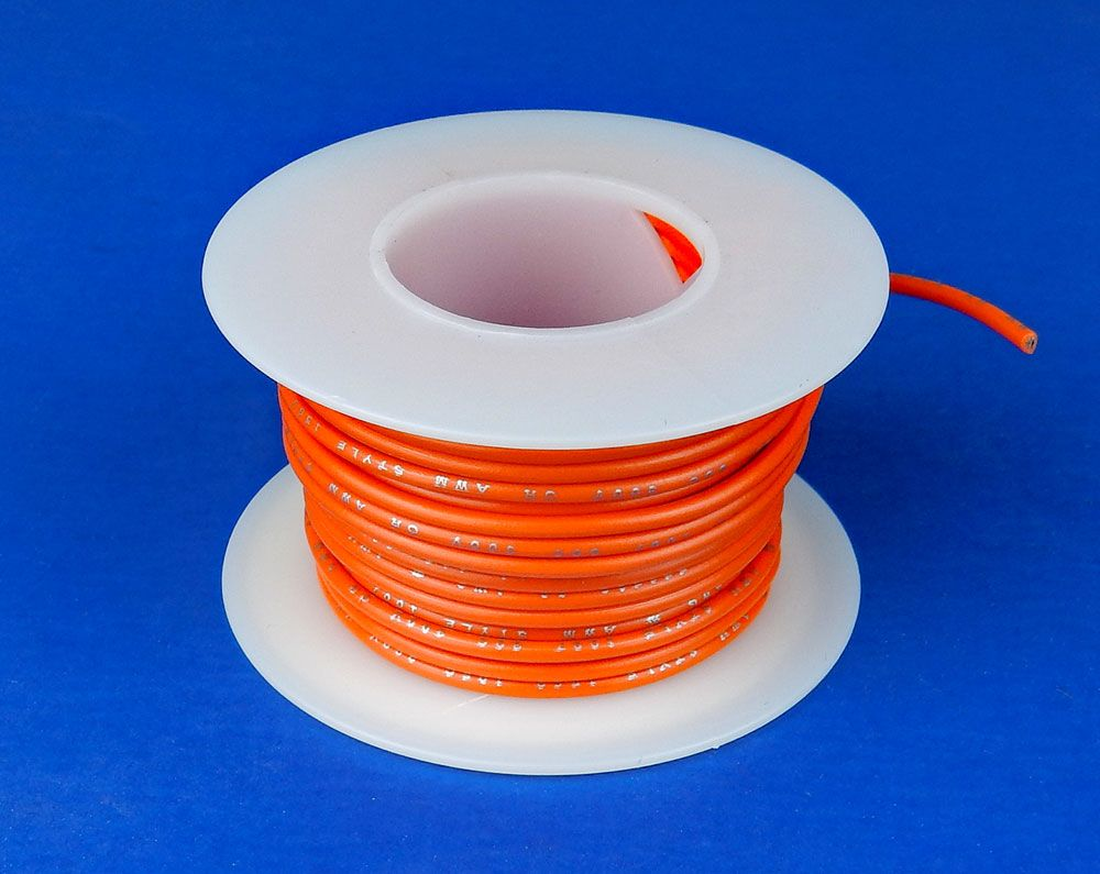 20 GA. ORANGE HOOK-UP WIRE, STRANDED 25'