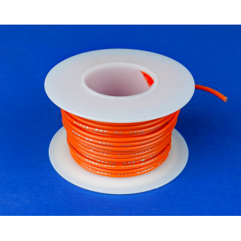 20 GA. ORANGE HOOK-UP WIRE, SOLID 25'
