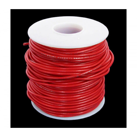 18 GA RED HOOK-UP WIRE, SOLID 100'