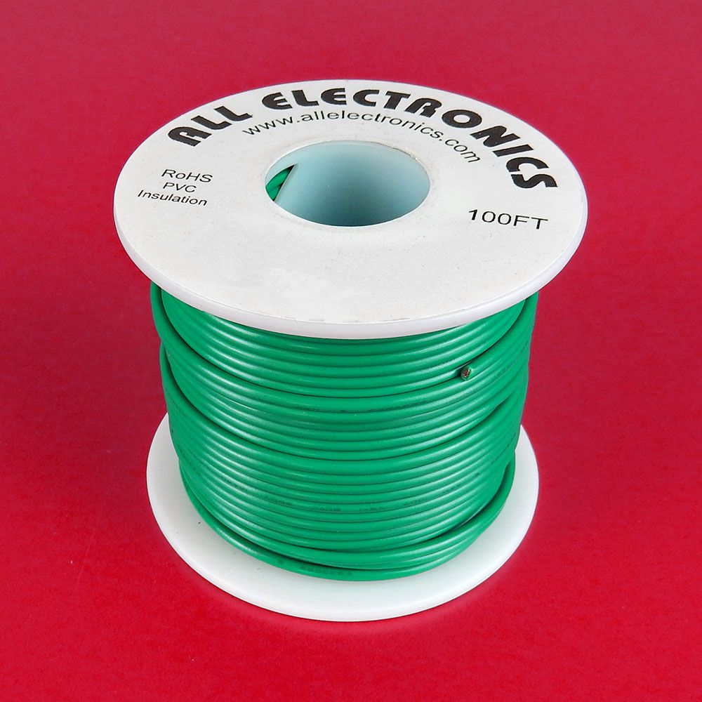 18 GA. GREEN HOOK-UP WIRE, STRANDED 100'