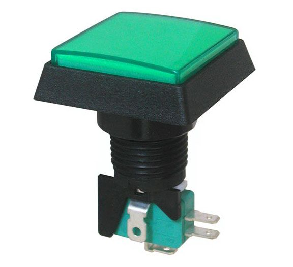 "12V LIGHTED PUSHBUTTON, GREEN 1.5"" SQUARE"