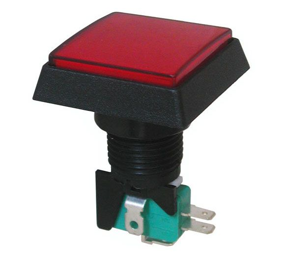 "12V LIGHTED PUSHBUTTON, RED 1.5"" SQUARE"