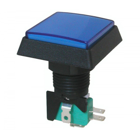 "12V LIGHTED PUSHBUTTON, BLUE 1.5"" SQUARE"