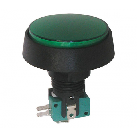 "12V LIGHTED PUSHBUTTON, 2"" GREEN LENS"
