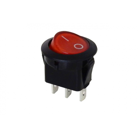 SPDT ROCKER SWITCH, RED ROCKER