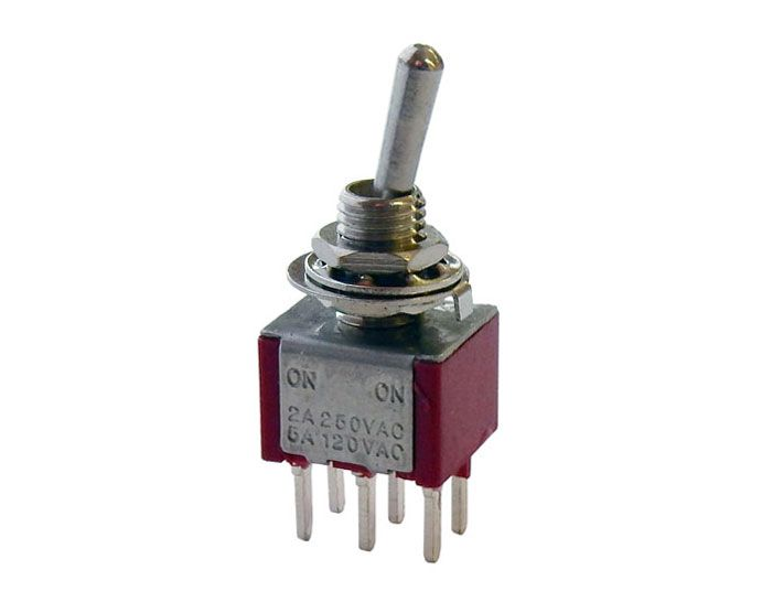 DPDT ON-ON MINI TOGGLE SWITCH, PC TERMINALS