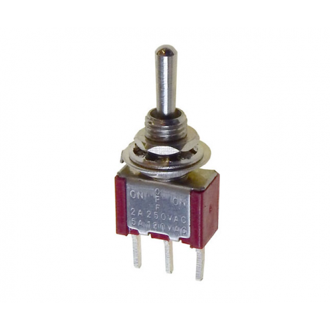 SPDT ON-OFF-ON MINI TOGGLE SWITCH, PC TERMINALS