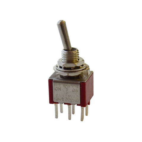 DPDT ON-OFF-ON MINI TOGGLE SWITCH, PC TERMINALS