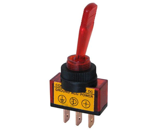 12 VDC ON-OFF LIGHTED TOGGLE SWITCH, RED