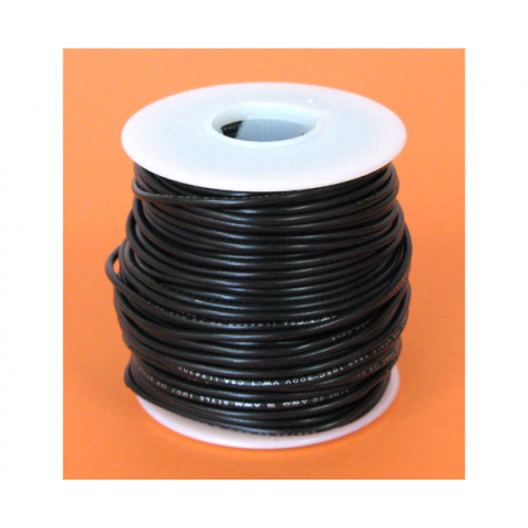 18 GA. BLACK HOOK-UP WIRE, STRANDED 100'