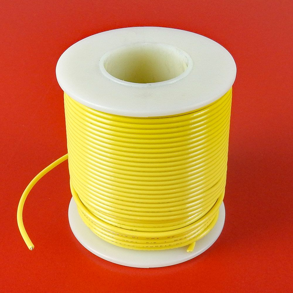 20 GA YELLOW HOOK-UP WIRE, SOLID 100'