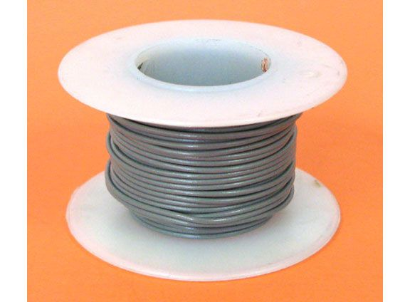 22 GA. GREY HOOK-UP WIRE, STRANDED 25'