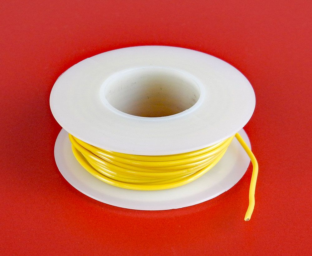 24 GA YELLOW HOOK UP WIRE, SOLID 25'