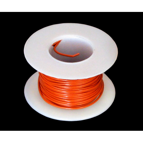 26 GA. ORANGE HOOK-UP WIRE, STRANDED 25'