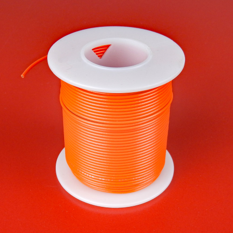 24 GA. ORANGE HOOK-UP WIRE, SOLID 100'