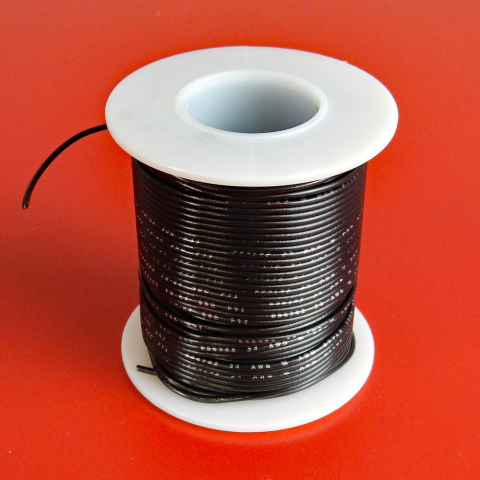 26 GA. BLACK HOOK-UP WIRE, STRANDED 100'