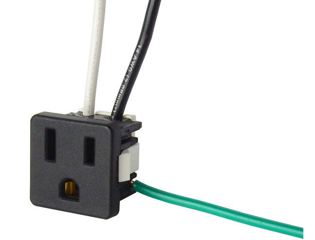 15 AMP GROUNDED AC OUTLET WITH WIRES | All Electronics Corp. Ac Outlet Wiring on