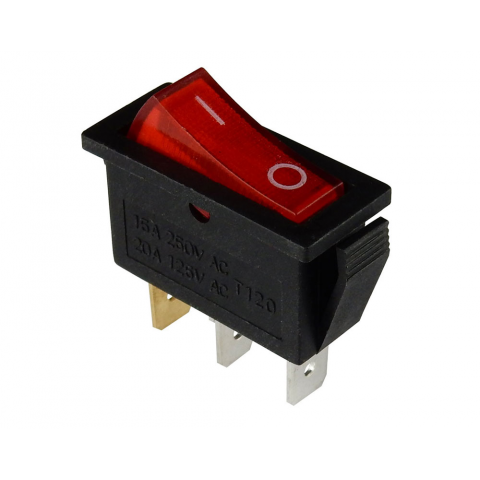 120 VAC LIGHTED ROCKER SWITCH, SPST