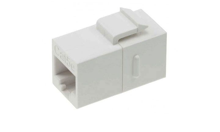CAT 5E INLINE COUPLER W/KEYSTONE LATCH WHITE