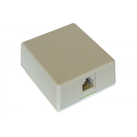 4 PIN SURFACE MOUNT MODULAR WALL JACK, IVORY
