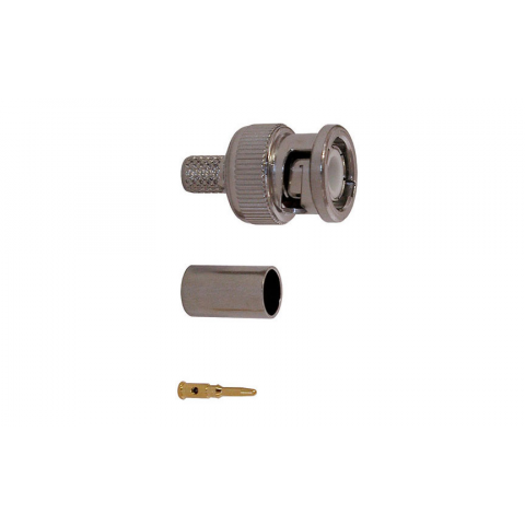 BNC MALE CONNECTOR, CRIMP-ON RG-6 CABLE