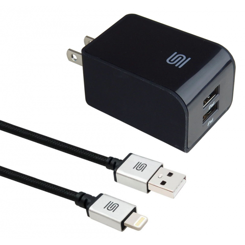 4.8A DUAL PORT USB WALL CHARGER W/ LIGHTNING CABLE