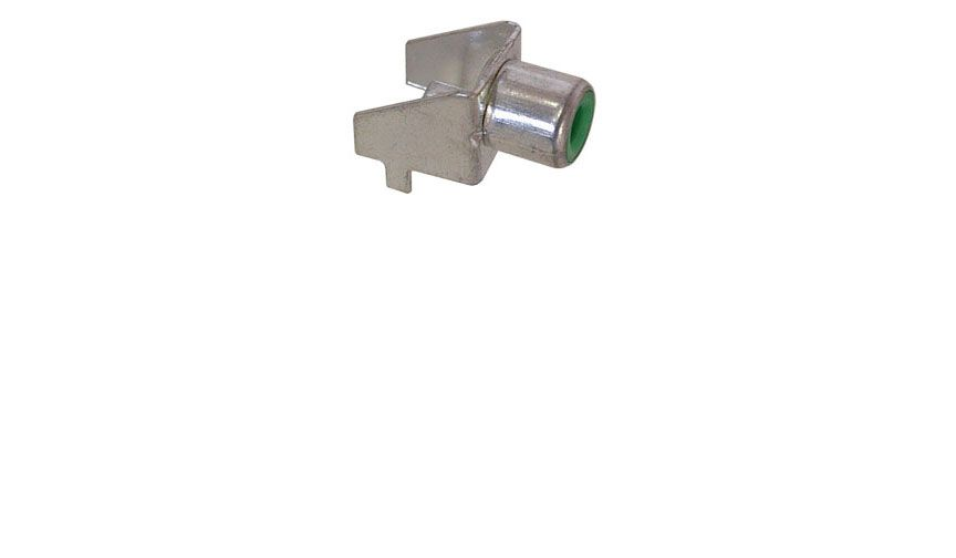 RCA JACK, RT. ANGLE, PC MOUNT, GREEN