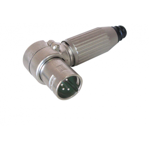 4-PIN MALE XLR CONNECTOR, CABLE MOUNT, RT. ANGLE
