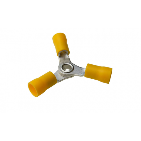 3-WAY RING TERMINAL, YELLOW, 12-10 AWG