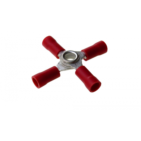 4 WAY RING TERMINAL RED, 22-18AWG