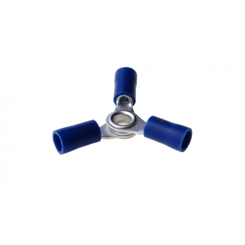 3 WAY RING TERMINAL BLUE, 16-14AWG