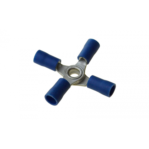 4 WAY RING TERMINAL BLUE, 16-14AWG