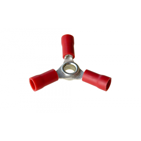 3 WAY RING TERMINAL RED, 22-18 AWG