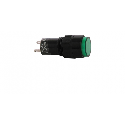 12 VDC INDICATOR, GREEN 12MM ROUND