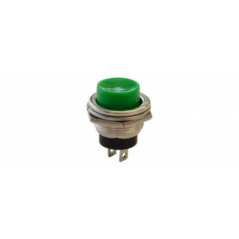 SPST PUSHBUTTON, N.O. CHROME BEZEL, GREEN BUTTON