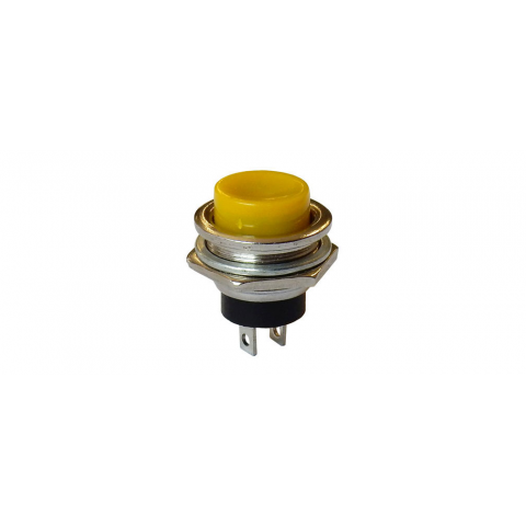 SPST PUSHBUTTON, N.O. CHROME BEZEL, YELLOW BUTTON